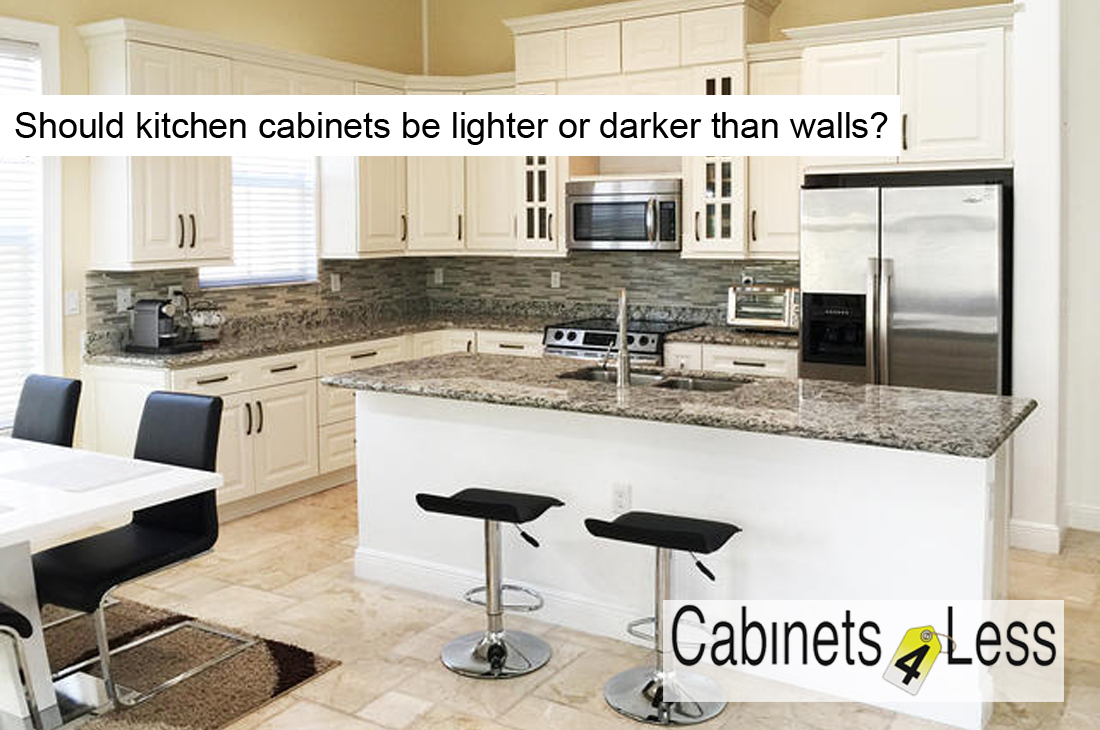 Should kitchen cabinets be lighter or darker than walls?